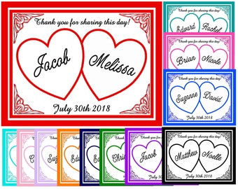 60 Personalized HEARTS WEDDING MAGNETS ~ Free shipping