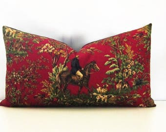 Ralph Lauren Decorative Pillow Cover- Equestrian-Red-13x23 Lumbar