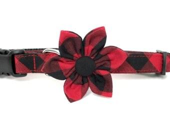 Red Buffalo Plaid Flower Dog collar Set, flower for dog collar, wedding flower, pet collar flower, collar flower