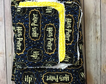 Harry Potter baby blanket gift set / Harry Potter baby shower gift set in many fabric options / Harry Potter minky blanket /
