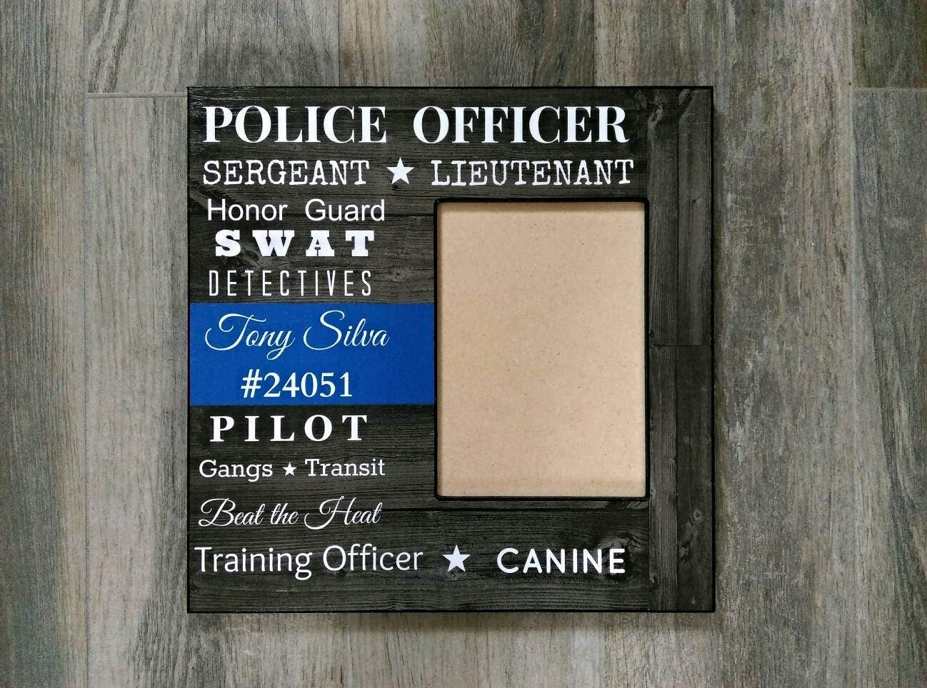 Personalized Police Officer Picture Frame | Police Retirement Gift ...