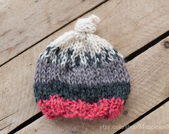 Christmas Knot Top Hat, Knot Top Newborn Hat, Newborn Stripe Hat, Newborn Boy, Fairisle Newborn Hat, Babys First Christmas, First Christmas