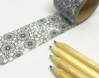 Colouring Washi Tape Flowers 30mm x 5m