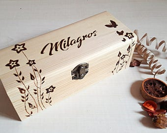 Engraved gift box, wood box, ring box, jewelry box, custom name box, quote box, keepsake, flower box