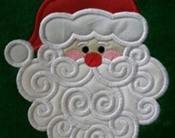 Swirly Santa Appliqued Child's T shirt, Christmas T-shirt, Appliqued Santa Clause Shirt, Santa Face Shirt, Child's Shirt,  Monogrammed