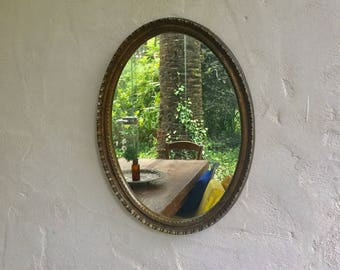 Classic oval mirror old gold
