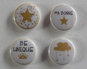 Magnet Aimant 25mm Etoile Doré Noël Lot de Quatre.