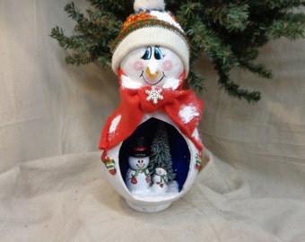 "Hand crafted ""snow globe"" style gourd art with snowmen by Debbie Easley"