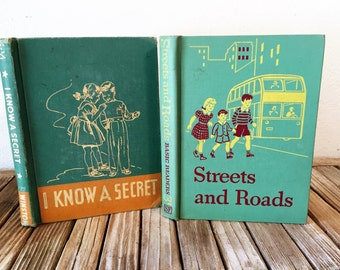 Vintage Book Set of Early Readers Streets and Roads and I Know A Secret