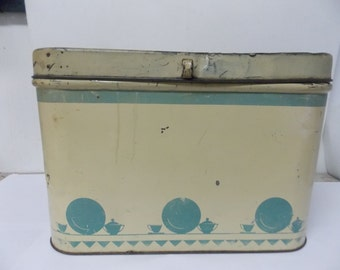 Vintage Metal Style Bread Box with Hinged Lid Light Blue Art Deco Kitchenwares Style Design