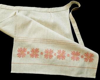 Vintage linen embroidered half apron