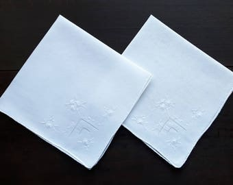 Vintage white handkerchiefs with embroidery set of two