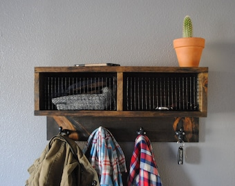 Rustic Industrial Wall Coat Rack With Storage Shelf And Wire Baskets