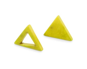Eco Friendly Stud Earrings Triangle Stud Tagua Earrings Sustainable