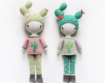 Cactus Girl Cactella - amigurumi doll - English pattern - kikalite