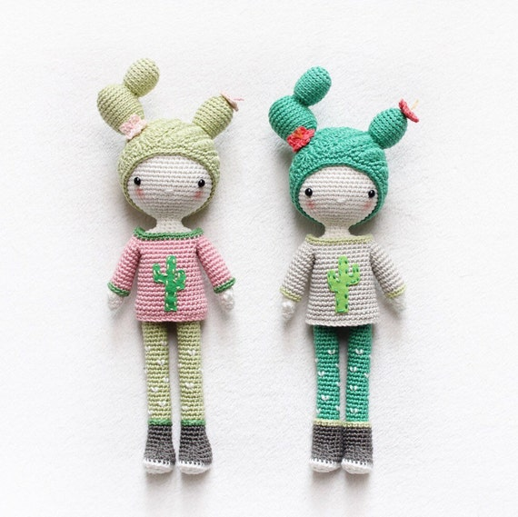 Cactus Girl Cactella - amigurumi doll - English pattern - kikalite