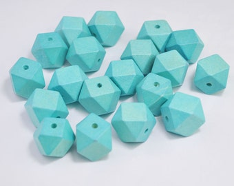 20pc Auqa green Geometric Wood Beads,Hand Painted wood Bead 20mm,spaced bead,DIY Geometric necklace/keyring,Make jewellery for selling