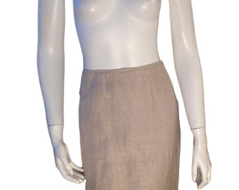 Escada Beige Shimmer Linen Mini Pencil Skirt (Size 38/US 6)