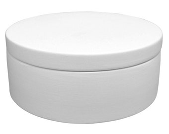 Bisque Lidded Round Box - Ceramic for Kiln or Hand Painting