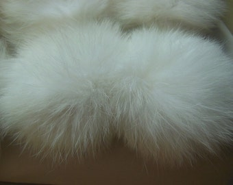 3pcs 6cm White Real Rabbit Fur Ball Rabbit Fur Pom Poms