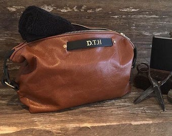 25% OFF Leather Toiletry Bag, Personalised Gift, Husband Gift, Leather Dopp Kit, Leather Wash Bag, Gift For Groom, Gift For Him