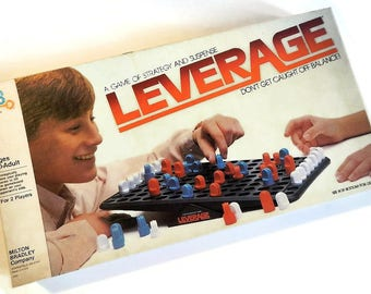 Vintage Leverage Game - COMPLETE, 1982, #4303, 2 player, ages 10 to adult - plastic, strategy game, suspense, balance, fun family game night
