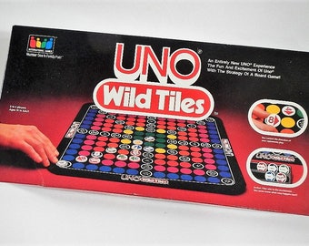 Vintage Uno Wild Tiles Board Game - International Games, Inc., 1984 - #7001, complete, original, family game night, 2-4 players, all ages