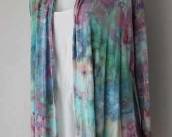 Ice dyed Drape cardigan open front cardi tie Dye - size Small - Cotton Candy crinkle