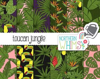"Tropical Digital Paper - ""Toucan Jungle"" - toucan, banana leaf & bird of paradise flower seamless patterns - summer scrapbook paper - CU OK"