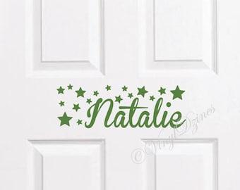 Kids Door Sign, Kids Door Decal, Name Door Decal, Name Sticker, Star Kids Name Decal, Bedroom Door Sticker WD-1301