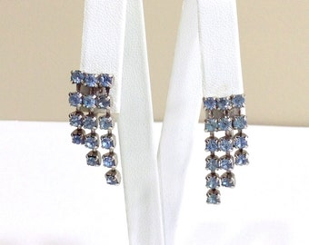 Vintage Blue Rhinestone Dangle Earrings / Rhinestone Three Strand Drop Earrings