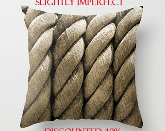 Discounted Pillow Cover-Pillow SALE! Rope Pillow Cover-Decorative Pillow Cover-Nautical Throw Pillow-Brown & Black Pillow-Coastal Decor