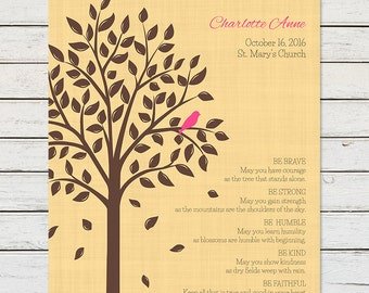 BABY GIRL BAPTISM Gift, Personalized Baptism Gift, For Goddaughter, From Godmother, From Godfather, Baby Girl Christening, Baptism Tree