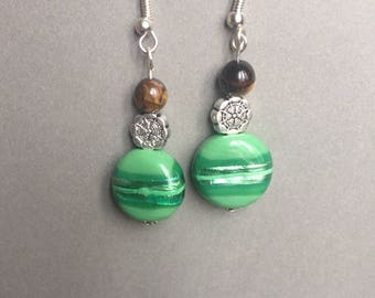 Handmade earrings - silver plated mandala - brown and green glass bead