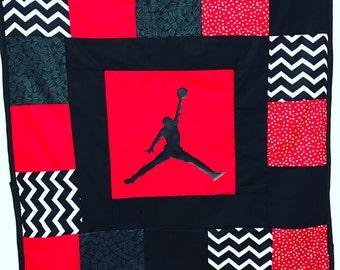 Jordan baby quilt blanket, jumpman, crib blanket, minky blanket, michael jordan baby blanket