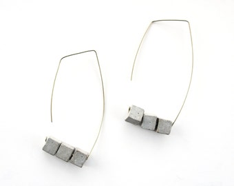 Geometric earrings, Simple gold earrings set, Open hoop earrings, Minimalist jewelry gift for women, Gold filled earrings, Long earrings
