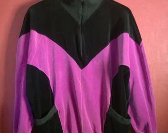 Vintage  Sweatshirt Velvet Purple Black Colorblock VINTAGE 1980s90s SWEATER Velvet Colorblock Size M