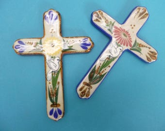 Hand painted Ceramic crosses #2 made in Mexico.