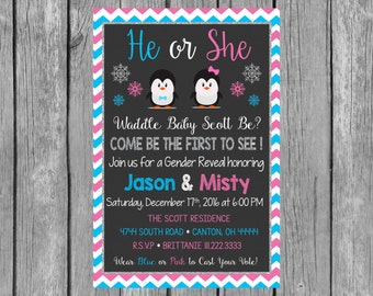 Penguin....WADDLE BABY BE? Gender Reveal Party Invitation - Winter Gender Reveal Invitation