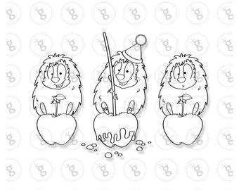 """Digi stamp set """"hedgehog on apple"""""""