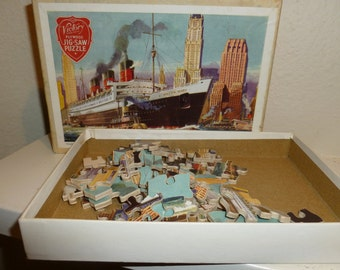 Vintage Queen Mary 45 Piece Plywood Jig-saw Puzzle