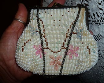 Sweet Little Time Worn Beaded Purse From The 1930's