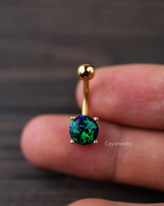belly ring fire opal belly button ring belly button by ...