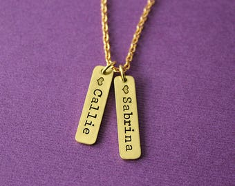 Personalized Brass Tag Necklace - Gold Tag Necklace - Mom Necklace - Kids Names Necklace - Grandma Necklace - Mom Gift - Mother's Day Gift