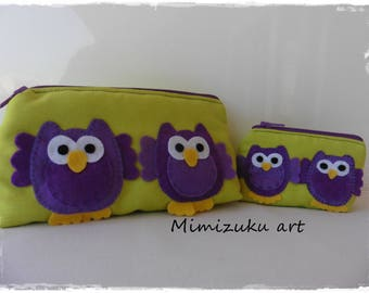 Conjunto de neceser y monedero, purse, dressing case, hand made, mimizuku art