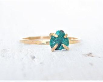 Raw Dioptase Ring, Rough Dioptase Ring, Gold Dioptase Ring, Dainty Crystal Ring, Raw Crystal Ring, Gold Crystal Ring, Raw Stone Ring