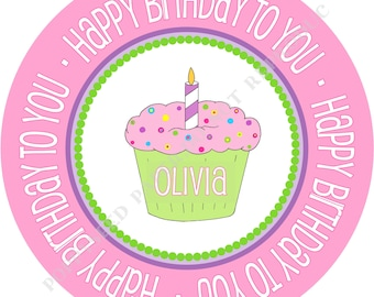 Personalized melamine plate- Happy Birthday plate- Personalized plate with Monogram and Cupcake