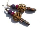 Boucles d'oreilles rustiques ethniques jaspe violet mauve violine Baoulé Côte d'Ivoire bohème gipsy gemmes groovy boho chic ooak unique