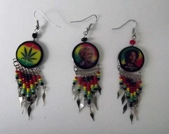 3 Pairs of Rasta Dangle&Round  Earrings. Handmade in Peru