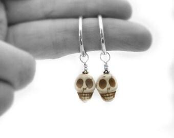 Sterling silver skull hoop earrings, sugar skulls, day of the dead, skull jewellery, frida kahlo style, skull earrings